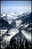 Aerial view of rugged peaks, Chigmit Mountains. Lake Clark National Park ( color)