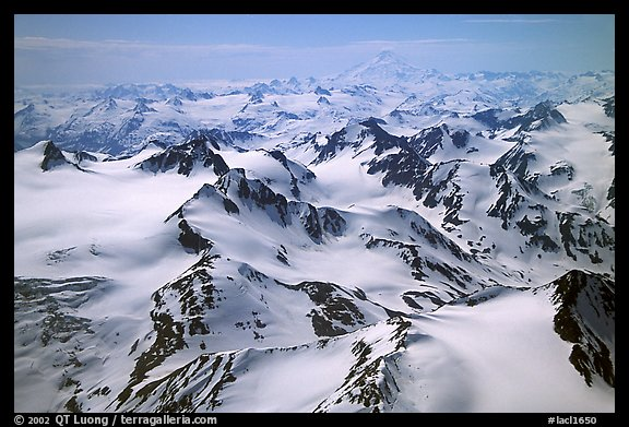 Aerial view of snowy peaks, Chigmit Mountains. Lake Clark National Park (color)