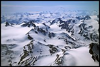 Aerial view of snowy peaks, Chigmit Mountains. Lake Clark National Park ( color)