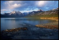Stream flowing into Turquoise Lake, sunset. Lake Clark National Park ( color)