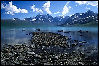 Telaquana Mountains above Turquoise Lake, from the middle of the lake. Lake Clark National Park, Alaska, USA. (color)