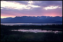 Lake Clark from the base of Tanalian mountain, sunset. Lake Clark National Park ( color)