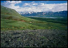 Tundra with Twin Lakes and mountains in the distance. Lake Clark National Park ( color)