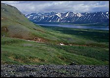 Tundra-covered hills and Twin Lakes. Lake Clark National Park ( color)