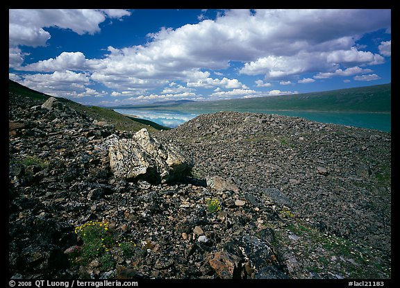 Boulder field and Turquoise Lake. Lake Clark National Park (color)