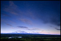 The Wrangell mountains seen from the west, sunset. Wrangell-St Elias National Park ( color)