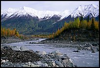 Kennicott river and Wrangell mountains. Wrangell-St Elias National Park ( color)