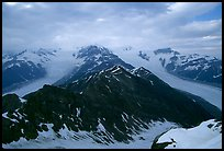 Kennicott and Root glaciers seen from Mt Donoho, evening. Wrangell-St Elias National Park ( color)