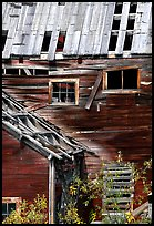 Damaged roof and walls, Kennicott mine. Wrangell-St Elias National Park ( color)