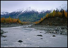 Kennicott River and snow-covered Bonanza ridge. Wrangell-St Elias National Park ( color)