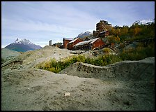 Kennecott abandonned mill above moraines. Wrangell-St Elias National Park, Alaska, USA.