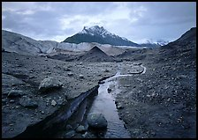 Mt Donoho above moraine, stream, and Root glacier. Wrangell-St Elias National Park ( color)