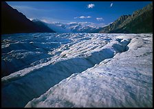 Crevasses and Root Glacier, afternoon. Wrangell-St Elias National Park, Alaska, USA. (color)