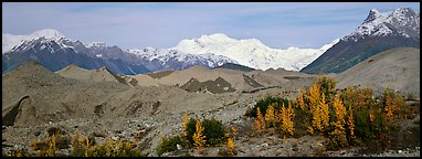 Moraines and snowy mountains. Wrangell-St Elias National Park (Panoramic color)