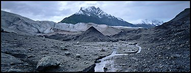 Glacial landscape with stream and moraine. Wrangell-St Elias National Park (Panoramic color)