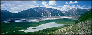 Glacial valley and lake. Wrangell-St Elias National Park (Panoramic color)