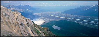 Glacier system from above. Wrangell-St Elias National Park (Panoramic color)