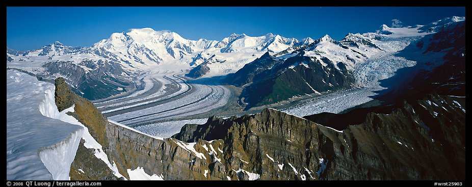 High mountain landscape with glaciers and snow-covered peaks. Wrangell-St Elias National Park (color)
