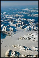 Aerial view of glaciers and mountains, St Elias range. Wrangell-St Elias National Park, Alaska, USA. (color)