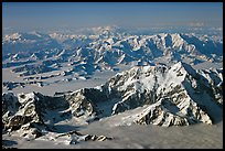 Aerial view of Mount St Elias with Mount Logan in background. Wrangell-St Elias National Park, Alaska, USA. (color)