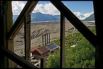 Kennecott power plant and Root Glacier seen from the Mill. Wrangell-St Elias National Park, Alaska, USA. (color)