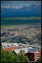 Kennecott mill town buildings and moraines of Root Glacier. Wrangell-St Elias National Park ( color)