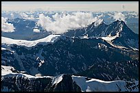 Aerial view of rugged dark peaks, Saint Elias Mountains. Wrangell-St Elias National Park ( color)