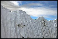 Aerial view of flutted wall, University Range. Wrangell-St Elias National Park, Alaska, USA. (color)