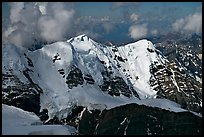 Aerial view of peak with seracs and hanging glaciers, University Range. Wrangell-St Elias National Park, Alaska, USA. (color)