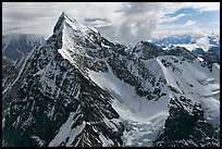 Aerial view of pointed icy peak, University Range. Wrangell-St Elias National Park, Alaska, USA. (color)