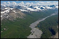 Aerial view of Granite Creek. Wrangell-St Elias National Park, Alaska, USA. (color)