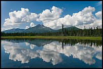 Clouds, mountains, and reflections. Wrangell-St Elias National Park, Alaska, USA.