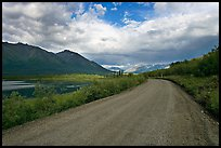 Unpaved McCarthy Road next to lake. Wrangell-St Elias National Park ( color)
