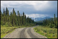 McCarthy road with vehicle approaching in the distance. Wrangell-St Elias National Park ( color)