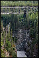 Kuskulana gorge, river, and bridge. Wrangell-St Elias National Park, Alaska, USA. (color)