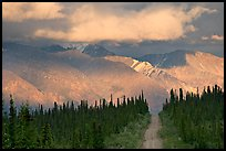 Road and Nutzotin Mountains at sunset. Wrangell-St Elias National Park ( color)