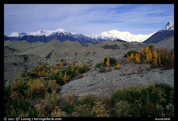 Mt Wrangell and Root Glacier moraines  seen from Kenicott. Wrangell-St Elias National Park, Alaska, USA.