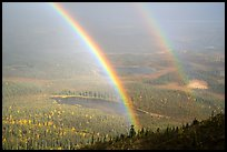 Double rainbow over lakes and tundra. Wrangell-St Elias National Park ( color)