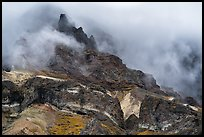 Volcanic spires emerging from clouds, Skookum Volcano. Wrangell-St Elias National Park ( color)