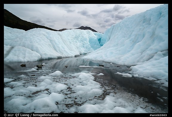 Meltwater and canyon, Root Glacier. Wrangell-St Elias National Park (color)