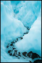 Meltwater at the bottom of icy canyon, Root Glacier. Wrangell-St Elias National Park ( color)