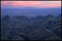 View from South Rim over bare mountains, sunset. Big Bend National Park, Texas, USA. (color)