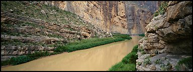 Rio Grande River flowing through Santa Elena Canyon. Big Bend National Park (Panoramic color)