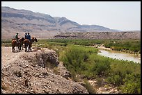 Horsemen and Rio Grande River. Big Bend National Park, Texas, USA. (color)