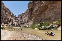 Paddling the Rio Grande in Boquillas Canyon. Big Bend National Park, Texas, USA. (color)