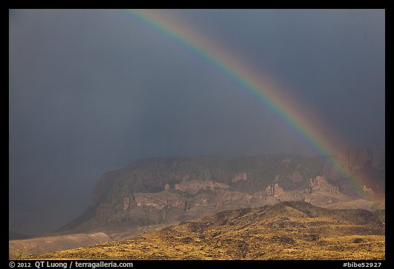 Rainbow over Chisos Mountains. Big Bend National Park, Texas, USA.