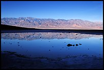 Panamint range reflection in Badwater pond, early morning. Death Valley National Park, California, USA. (color)