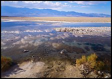 Shallow pond, reflections, and playa, Badwater. Death Valley National Park, California, USA. (color)