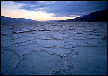 Hexagonal salt tiles near Badwater, sunrise. Death Valley National Park, California, USA.