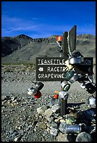 Teakettle Junction sign, adorned with teakettles. Death Valley National Park ( color)